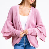Dusty Pink Long Tiered Sleeve Cardigan Sweater - Fab50Fashions