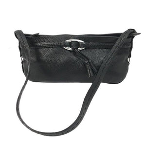 Brighton Black Pebbled Leather Small Shoulder Bag - Fab50Fashions