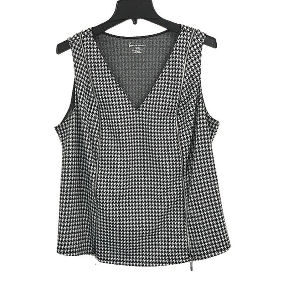 Lane Bryant Lane Bryant Hounds tooth Zipper V-Neck Tank size 18-20 - Fab50Fashions