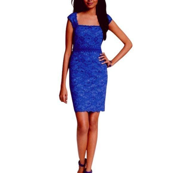 Ann Taylor Blue Lace Sheath Dress size 4 - Fab50Fashions