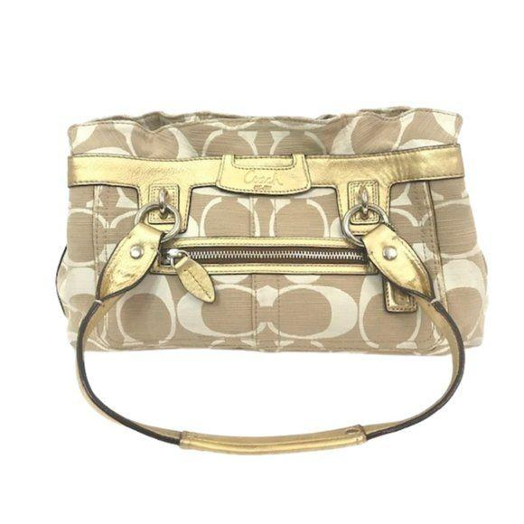 Coach Signature Penelope Cream Gold Shoulder Bag - Fab50Fashions