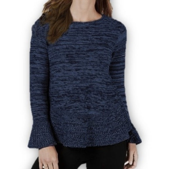 Style & Co Marled Bell-Sleeve Sweater Blue Black size M - Fab50Fashions