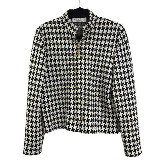 St. John Collection Hounds tooth Jacket Cardigan size 8 - Fab50Fashions