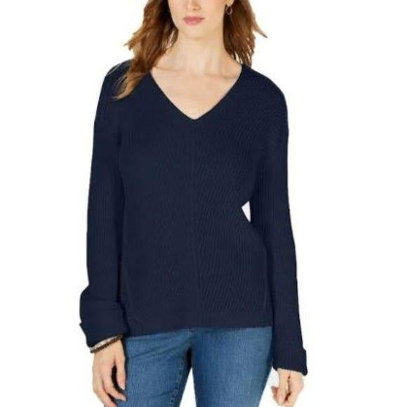 Charter Club v neck cuffed sleeve sweater navy size M - Fab50Fashions