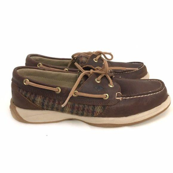 Sperry Top Sider Brown Leather Tweed Boat Shoes size 7 - Fab50Fashions
