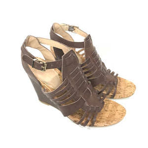 BCBGeneration Brown Cage Wedge Sandals style Blayne size 7 - Fab50Fashions