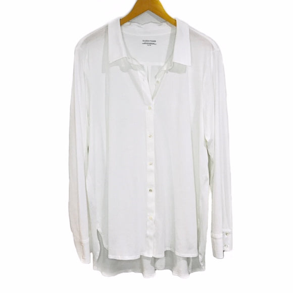 Eileen Fisher Classic Collar Cream Shirt size XL - Fab50Fashions