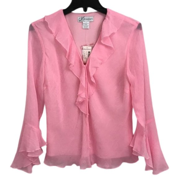 Dress Barn Pink Ruffle Bell Sleeve Blouse Small - Fab50Fashions
