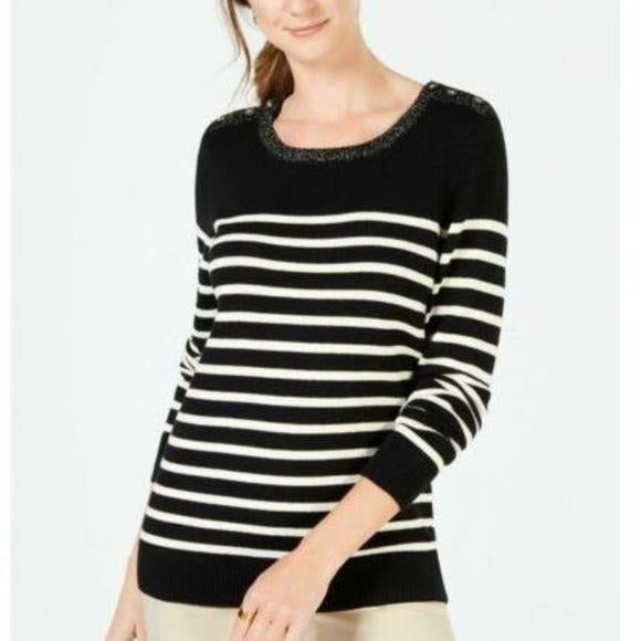 Charter Club Embellished Stripe Crew Neck Sweater size L - Fab50Fashions