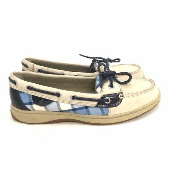Sperry Top Sider Blue Tan Plaid Deck Shoes size 7 - Fab50Fashions