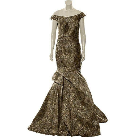 Terani Couture Off Shoulder Evening Gown Bronze size 8 - Fab50Fashions