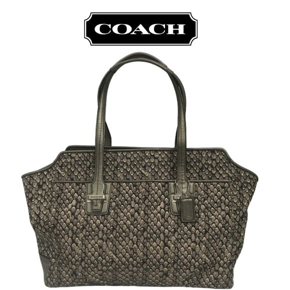Coach Taylor Snake Print Alexis Carryall Tote - Fab50Fashions