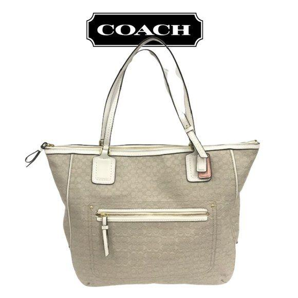 Coach Poppy Signature Oxford Tote Beige White - Fab50Fashions