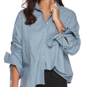 Free People Blue Ruched Sleeve Blouse XS - Fab50Fashions