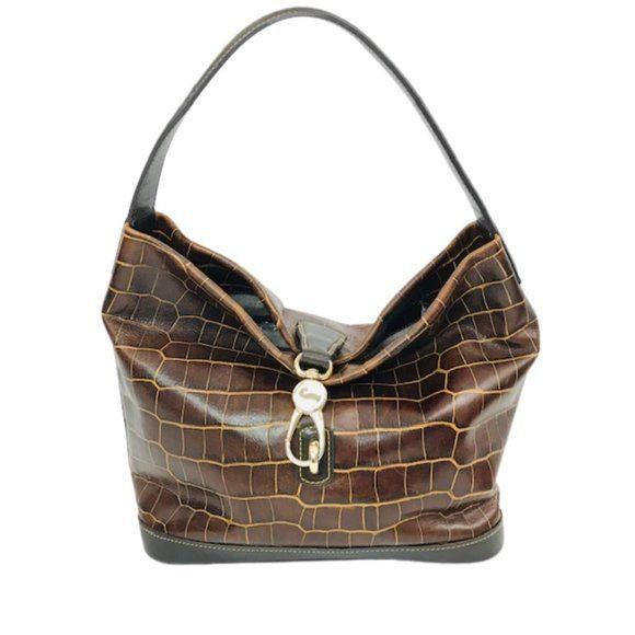 Dooney & Bourke Brown Croc Embossed Lock Sac Hobo - Fab50Fashions