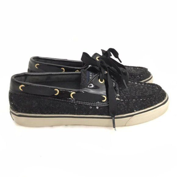 Sperry Black Sequin Deck Shoes size 7.5 - Fab50Fashions