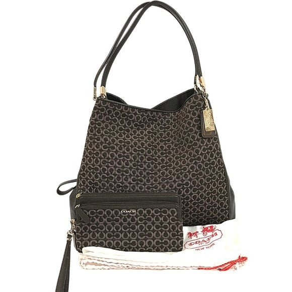 Coach Coach Madison Small Phoebe Bag Op Art Needlepoint with Wallet - Fab50Fashions