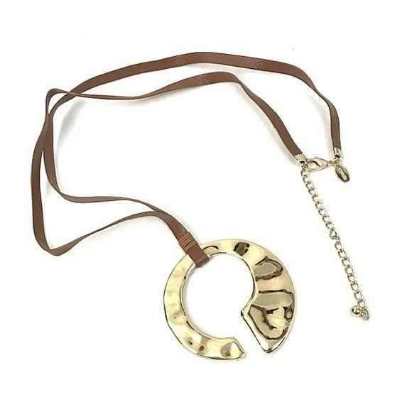Chico's Leather Gold Long Pendant Necklace - Fab50Fashions