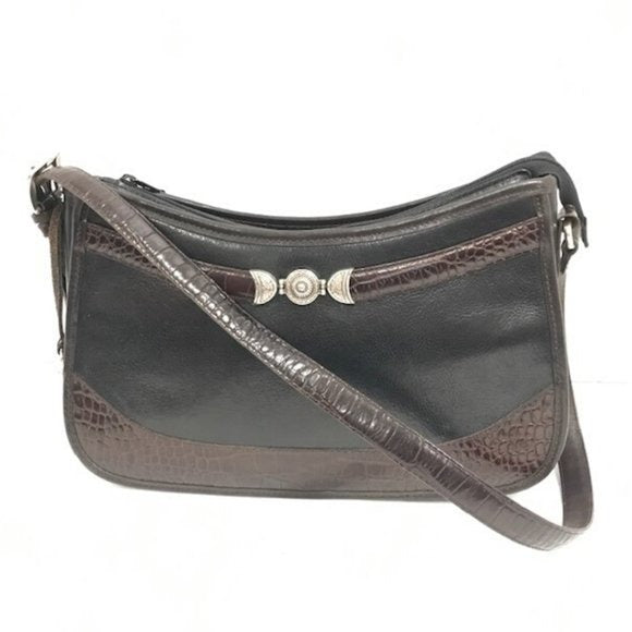 Brighton Black Brown Croc Embossed Shoulder Bag - Fab50Fashions