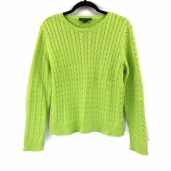 Lauren Ralph Lauren Lime Green Cable Knit Sweater size L - Fab50Fashions