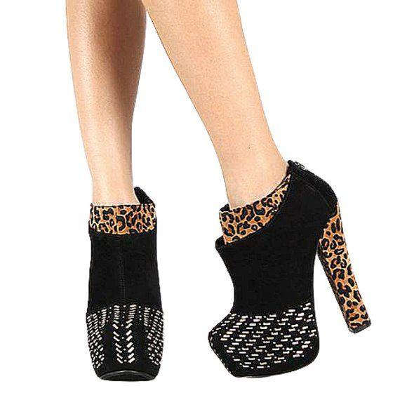 Lilianna Black Leopard Platform Ankle Booties size 6.5 - Fab50Fashions