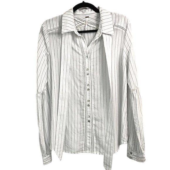 Free People Free People White pinstripe blouse size M - Fab50Fashions