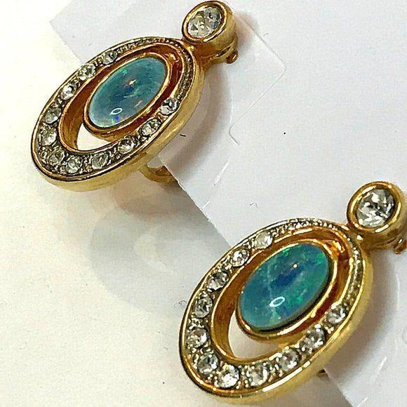Vintage screw back cabochon earrings with gold hardware