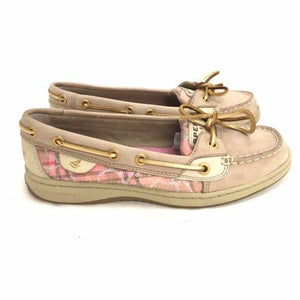 Sperry Top Sider Pink Tan Plaid Loafers size 5.5 - Fab50Fashions