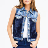 Denim Blue Faux Fur Jean Jacket Vest size M - Fab50Fashions