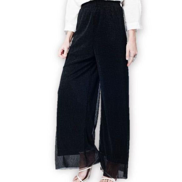 Black woven metallic wide leg dressy pants - Fab50Fashions