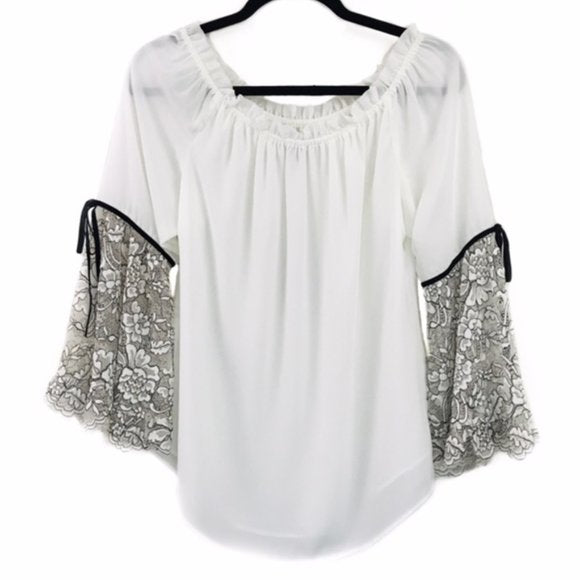 White House Black Market WHBM Lace Bell Sleeve Blouse size S - Fab50Fashions