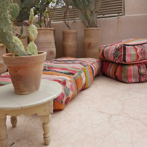 XL moroccan pouf sunset