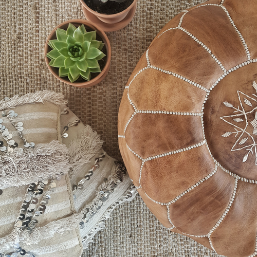 moroccan leather pouf caramel