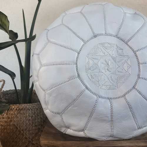 moroccan leather pouf white