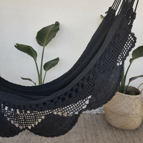 black crochet and fringes hammock