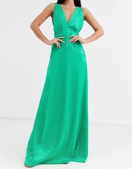 Green Satin Minimal Maxi Dress