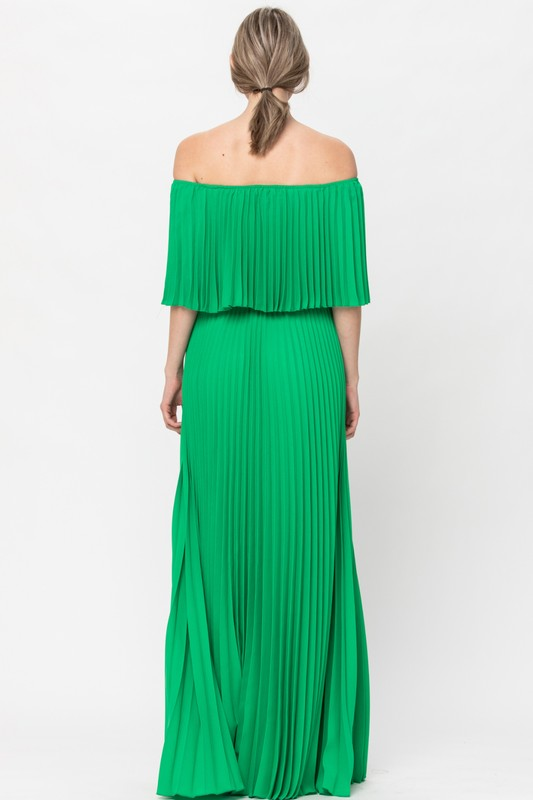 Green Sleeve off shoulder pleated maxi dress