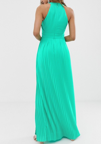 Green Pleated Maxi Dress - spring