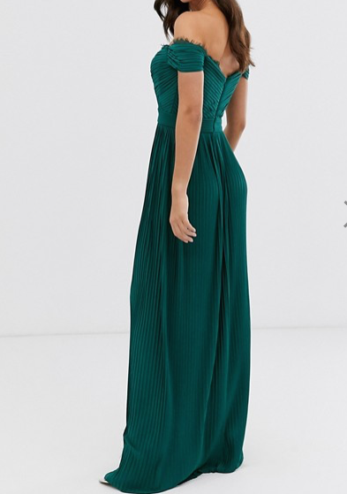 Forest Green Bardot Maxi Dress - ss20