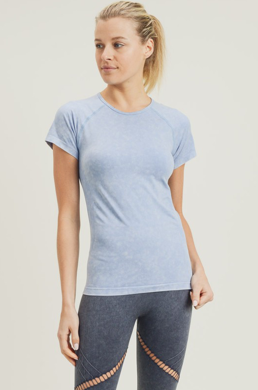 Blue Mineral-Washed Perforated Seamless Raglan Shirt