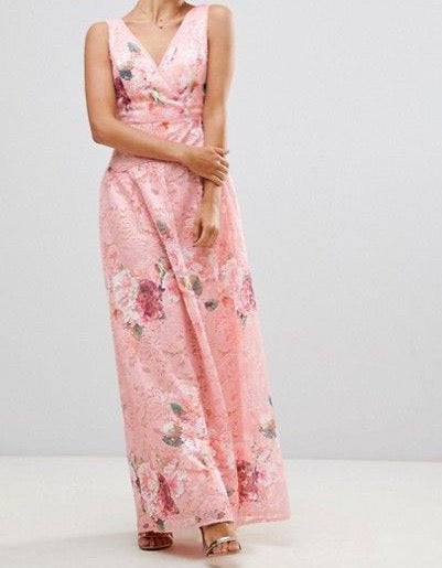 Pink Lace Flowers Maxi Dress