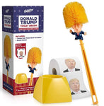 Donald Trump Toilet Brush and Trump Toilet Paper Roll Bundle - Funny Political Gag Gift Toilet Bowl Cleaner Scrubber with 2-Ply Bathroom Tissue Paper