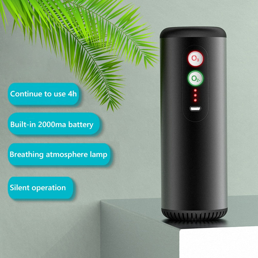 Portable Car Air Purifier Rechargeable Ionizer Ozone Generator Air Cleaner