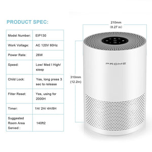 Air Purifier with True HEPA Filter and Activated Carbon Layer Filter for Odor and Allergies