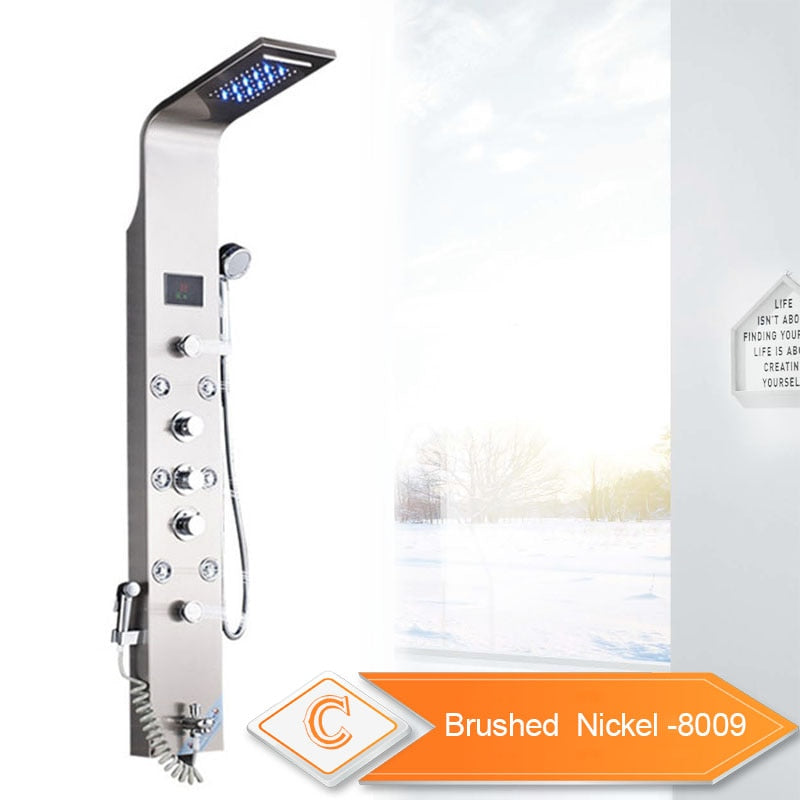LED Rainfall Waterfall Shower Panel Tower | Multi Jet Shower System