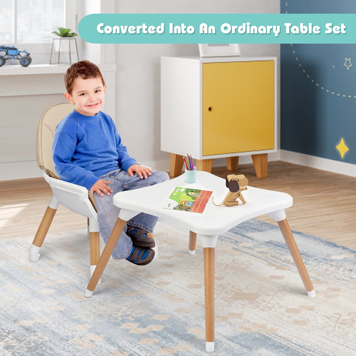 4-in-1 Baby High Chair Feeding and Play Chair Combo