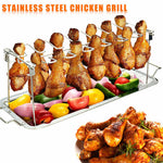 Stainless Steel Chicken Wing Leg Rack Grill Holder with Drip Pan for BBQ