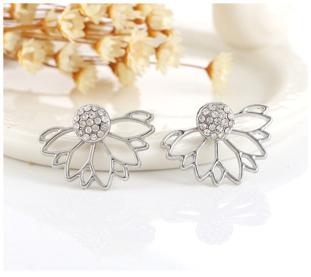 Crystal Ear Jacket Flower Earrings