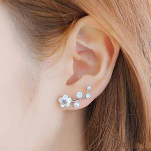 Crystal Earrings Pearl Flower Ear Jacket