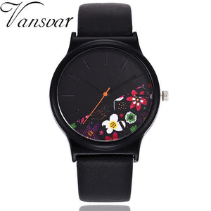 Leather Floral Pattern Womans Watch